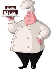 Chef holds a tray with cake