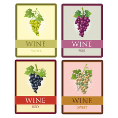 Set of four different colored labels wines