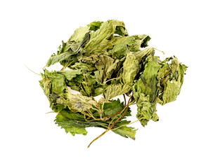 Dried nettle tea leaves isolated on white