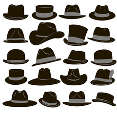 Set of 20 icons of men's hats