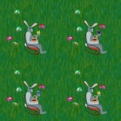 Gray Easter rabbits on rocking chair on grass