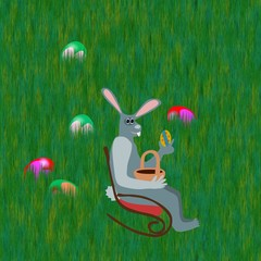Gray rabbit on rocking chair with easter eggs