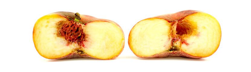 Donut peach cut in half