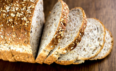 Macro closeup of delicious whole wheat bread