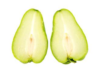Pair of half choko Chayote green fruit