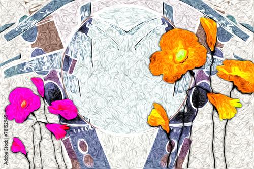 Fotobehang Bloemen Schilderen Abstract flower oil painting