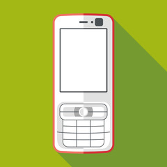 mobile phone icon with long shadow. flat style vector