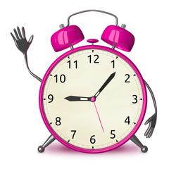 Pink alarm clock waving hand