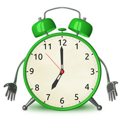 Sad green alarm clock character