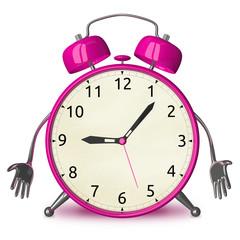 Sad pink alarm clock character