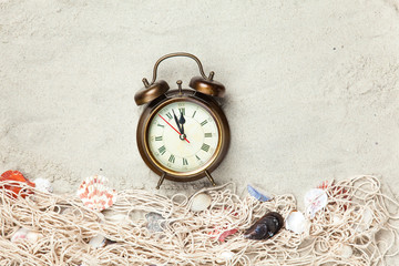 Alarm clock and net with shells