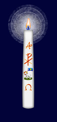 Easter candle with Christ monogram and Gods lamb symbol