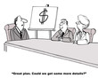Leinwanddruck Bild - Cartoon of business plan that only includes a dollar sign.