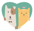 Animal set. Portrait of a dog and cat in love over heart - 78154711