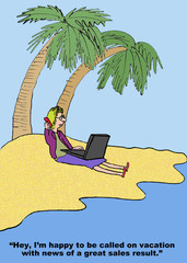 Cartoon of businesswoman on vacation getting sales call.