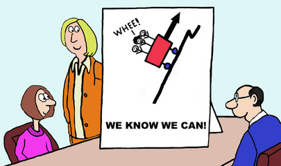 Cartoon of business team on success, we know we can.