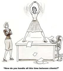 Cartoon of businesswoman handling time between clients.