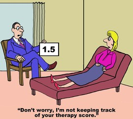 Cartoon of therapist saying he is not keeping therapy score.