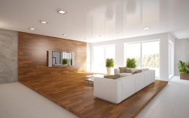white 3d interior design