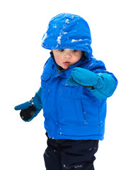 Boy Looking Snow on His Glove - Isolated