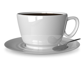 White cup and spoon on saucer