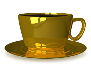 Golden cup on saucer