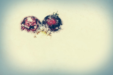 Snowy Christmas Baubles - Retro, Faded