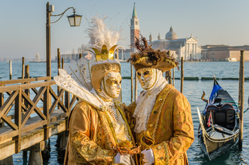Couple in Costumes and Masks at the Carnival of Venice
