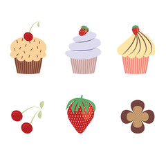 Set of cupcakes and berries