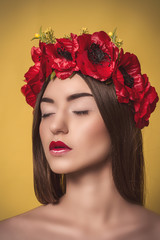 Portrait of Beautiful Young Woman with a wreath on his head.