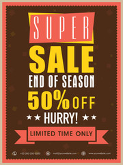 Super sale flyer, banner or poster design with discount offer.