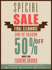 Vintage sale flyer, banner or poster design with discount offer.