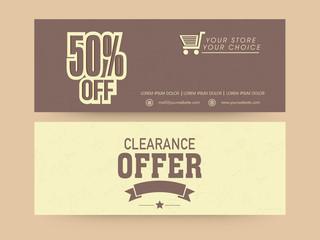 Sale website header or banner set with discount offer.