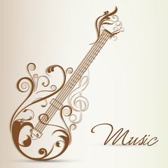 Beautiful floral design decorated guitar for music concept.