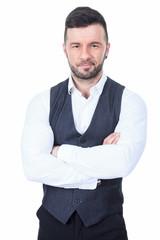 Bar bouncer arm cross over a white background studio
