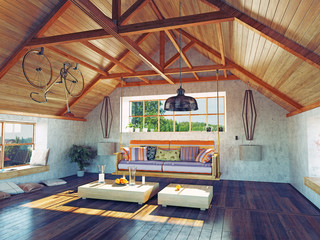 attic interior. 3d concept