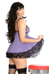 Young Pin Up Model Purple Lingerie