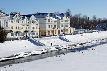Winter quay on the Tvertsa river