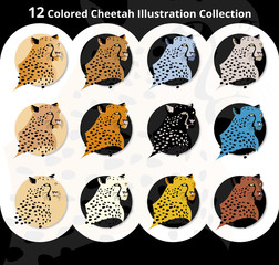 12 Colored Cheetah Illustration Collection