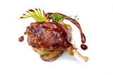 Duck pestle with potato, bacon sauce. confit. Roasted duck leg. - 78159166