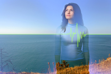Art concept: double exposure girl on sea background
