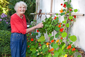 Smiling Old Woman Posing at her Flower Vine.
