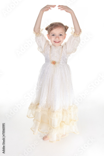 Fotobehang Dance School Beauty Ballerina young girl over white background