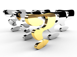 gold question-mark mark leadership conception