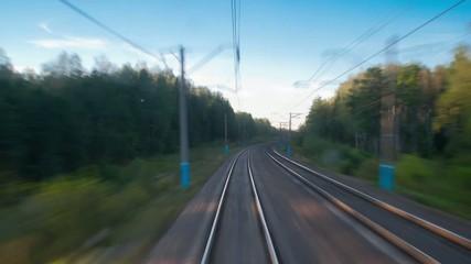 Railroad tracks in motion