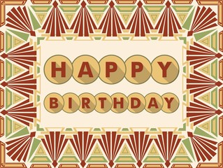 Happy birthday background in art deco design, muted colors