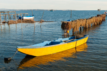 Traditional fishing boats in Axios Delta, Greece