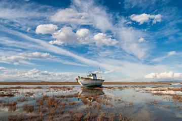 Boat in Axios Delta near Thessaloniki, Greece