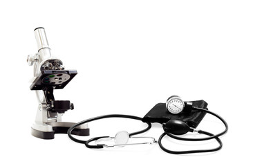 tonometer and microscope on a white background isolated