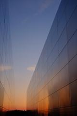 Metal 9-11 Memorial wall at sunset